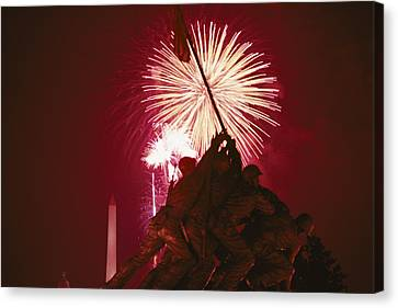 Fourth Of July Fireworks Over The Iwo Canvas Print