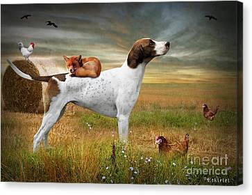 Fox And Hound Canvas Print by Ethiriel  Photography