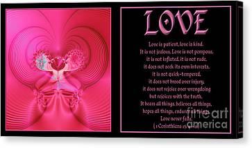 Fractal Love 1 Corinthians 13 Canvas Print by Rose Santuci-Sofranko