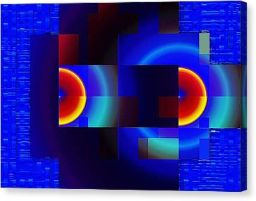 Canvas Print featuring the digital art fractal Mondrian by Mario Carini