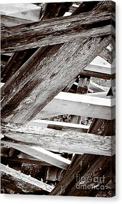 Framework Kinsol Trestle Wooden Frame In Abstract Black And White Canvas Print by Andy Smy