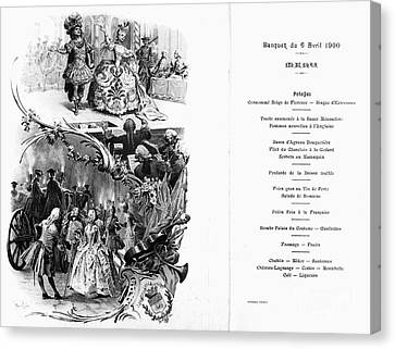 France: Menu, 1900 Canvas Print by Granger