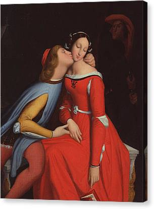 Ingres Canvas Print - Francesca Da Rimini And Paolo Malatestascene  by jean Auguste Dominique Ingres