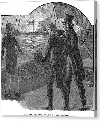 Francis Scott Key (1779-1843). American Lawyer And Poet. Witnessing The Bombardment Of Fort Mchenry, September 13-14, 1814: Wood Engraving, American, 1885 Canvas Print by Granger