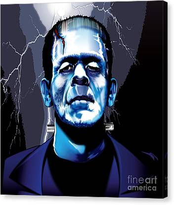 Canvas Print featuring the drawing Frank by Brian Gibbs