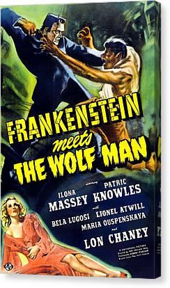 Frankenstein Meets The Wolf Man, Top Canvas Print by Everett