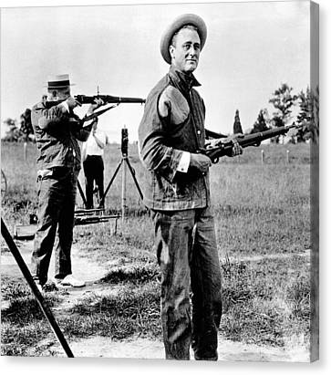 Franklin Roosevelt On A Rifle Range Canvas Print by Everett