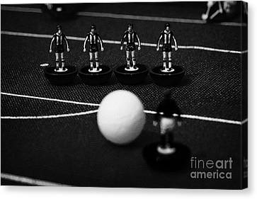 Free Kick Wall Of Players Football Soccer Scene Reinacted With Subbuteo Table Top Football  Canvas Print by Joe Fox