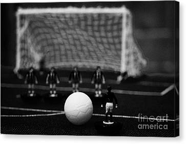 Free Kick With Wall Of Players Football Soccer Scene Reinacted With Subbuteo Table Top Football  Canvas Print by Joe Fox