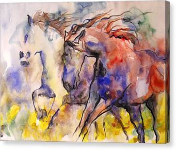 Canvas Print featuring the painting Free Spirits by Koro Arandia
