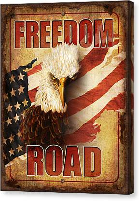 Freedom Road Sign Canvas Print by JQ Licensing