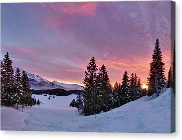 French Alps At Sunset Canvas Print by Philipp Klinger