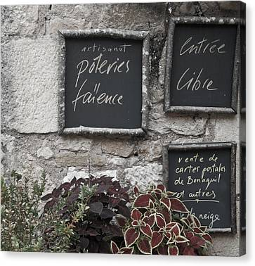 French Chalkboard Signs Canvas Print