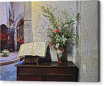 Canvas Print featuring the photograph French Church Decorations by Dave Mills
