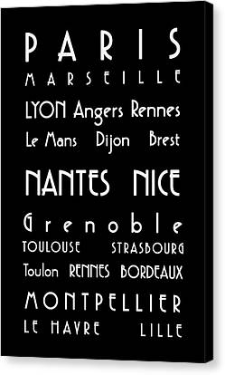 Bus Roll Canvas Print - French Cities - Bus Roll Style by Georgia Fowler