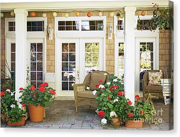 French Doors And Patio Canvas Print