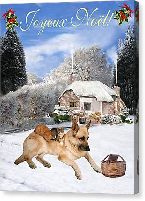 Friend Holiday Card Canvas Print - French German Shepherd Holiday by Eric Kempson