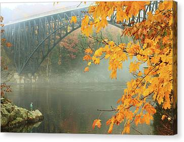 French King Bridge Autumn Fisherman Canvas Print by John Burk