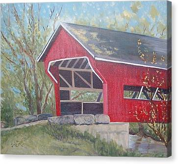 French Lick Covered Bridge Canvas Print by Julie Cranfill