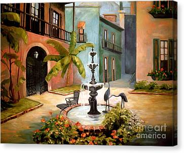 Canvas Print featuring the painting French Quarter Fountain by Gretchen Allen