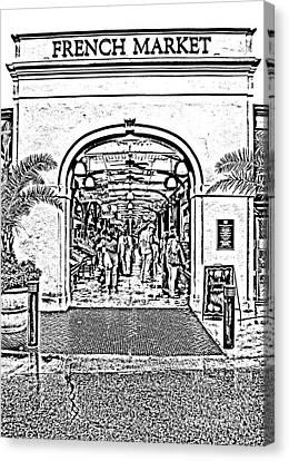 French Quarter French Market Entrance New Orleans Photocopy Digital Art Canvas Print by Shawn O'Brien