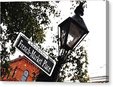 Big Easy Canvas Print - French Quarter French Market Street Sign New Orleans Diffuse Glow Digital Art by Shawn O'Brien