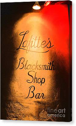 French Quarter Illuminated Lafittes Blacksmith Shop Bar Sign New Orleans Film Grain Digital Art Canvas Print