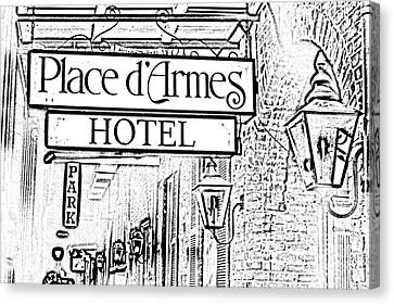 French Quarter Place Darmes Hotel Sign And Gas Lamps New Orleans Photocopy Digital Art Canvas Print by Shawn O'Brien