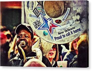 Canvas Print featuring the photograph French Quarter Tuba Guy 1 by Jim Albritton