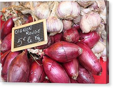 French Red Onions And Garlic Canvas Print by Yvonne Ayoub