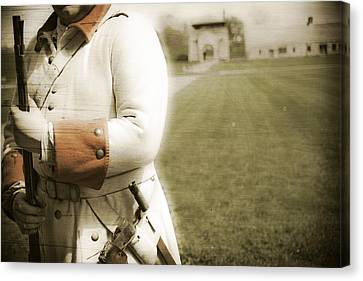 French Soldier Standing Guard Canvas Print by Keith Allen