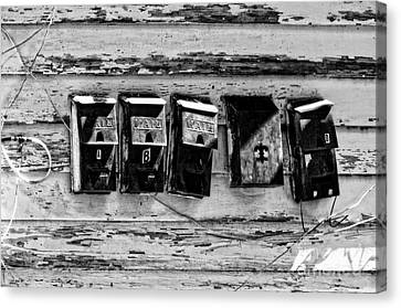 Freret Street Mailboxes - Black And White -nola Canvas Print by Kathleen K Parker