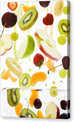 Fresh Mixed Fruit With Apple & Orange Juice Canvas Print by Andrew Bret Wallis