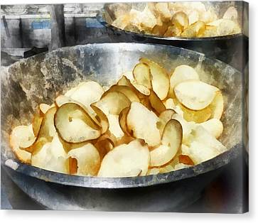 Fresh Potato Chips Canvas Print by Susan Savad