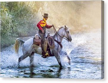 Impasto Horses Canvas Print - Fresh Start by Janet Fikar