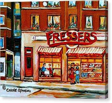 Fressers Deli Decarie Boulevard Montreal City Scenes Canvas Print by Carole Spandau