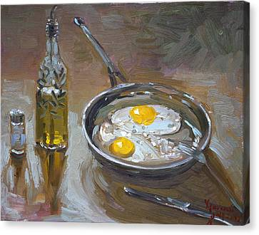 Fried Eggs Canvas Print by Ylli Haruni