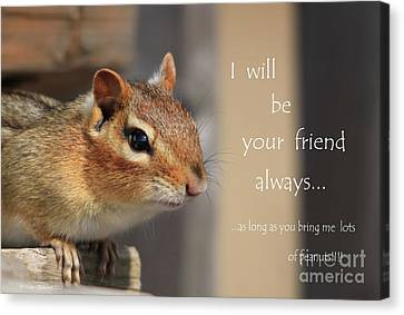 Canvas Print featuring the photograph Friend For Peanuts by Cathy  Beharriell