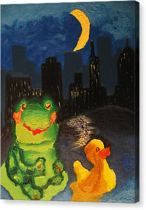 Frog And Duck Go To The Bog City By Way Of The Lake Canvas Print
