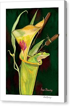 Canvas Print featuring the painting Frog In Green Pitcher Plant by Anne Beverley-Stamps