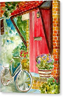 Bicycle With Flowers Canvas Print - Front Door by Judy Vaeth