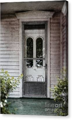 Front Door Of Vintage House Canvas Print by Jill Battaglia