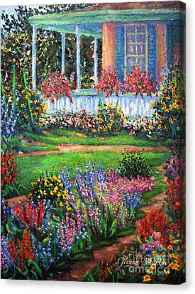 Front Porch And Flower Gardens Canvas Print by Glenna McRae
