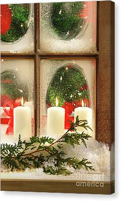 Frosted Window Canvas Print by Sandra Cunningham