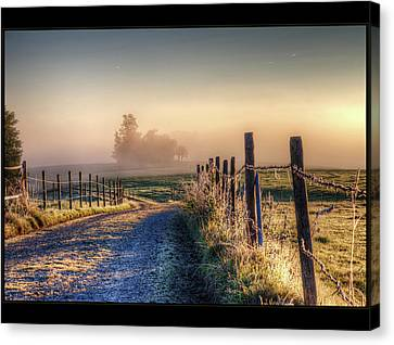 Frosty Fence Canvas Print by LASER Lovelyness Amplificated Saturated Editing of Radiance