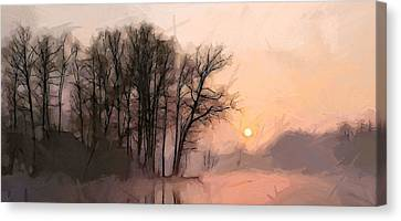 Frosty Morning At The Lake Canvas Print by Steve K