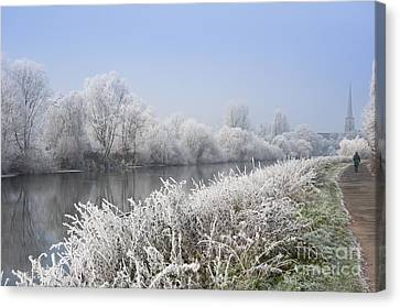 Frosty Morning Landscape Canvas Print by Andrew  Michael