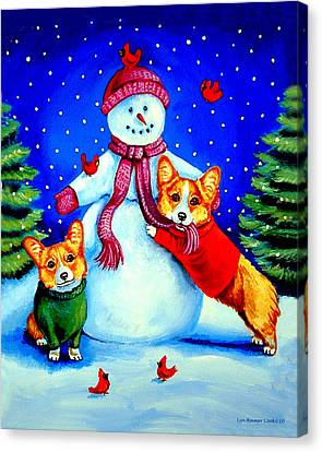 Frosty's Helpers Pembroke Welsh Corgis Canvas Print by Lyn Cook