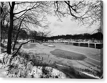 Frozen Central Park At Dusk Canvas Print