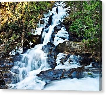 Canvas Print featuring the photograph Frozen Waterfall by Susan Leggett